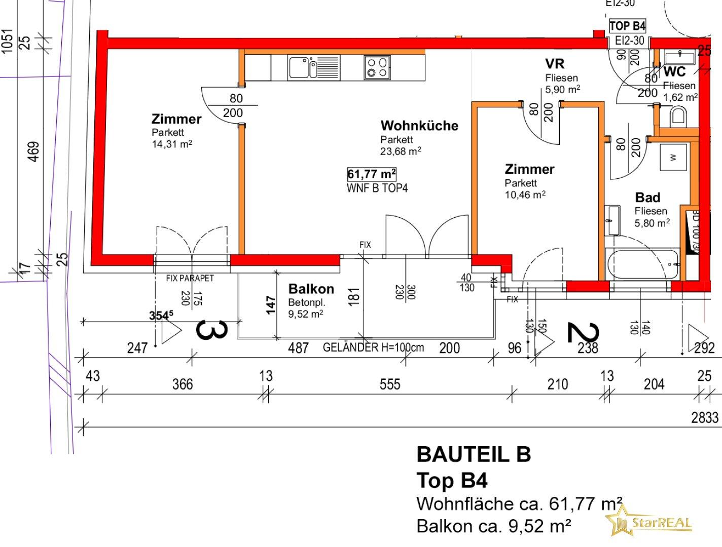 BAUTEIL B/TOP 4 - Grundriss