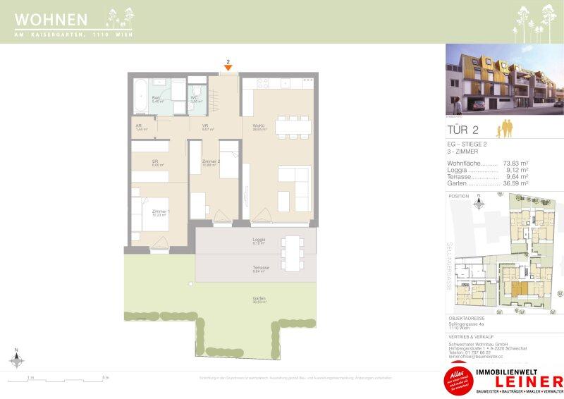 VERGEBEN! Leben wie in einem Haus mitten in der Stadt - Eigentumswohnung sonnigemGarten - Provisionsfrei - 1110 Wien Objekt_15339 Bild_249