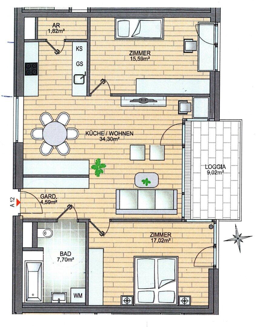 3-Zimmer-Mietwohnung Kufstein, Grundriss
