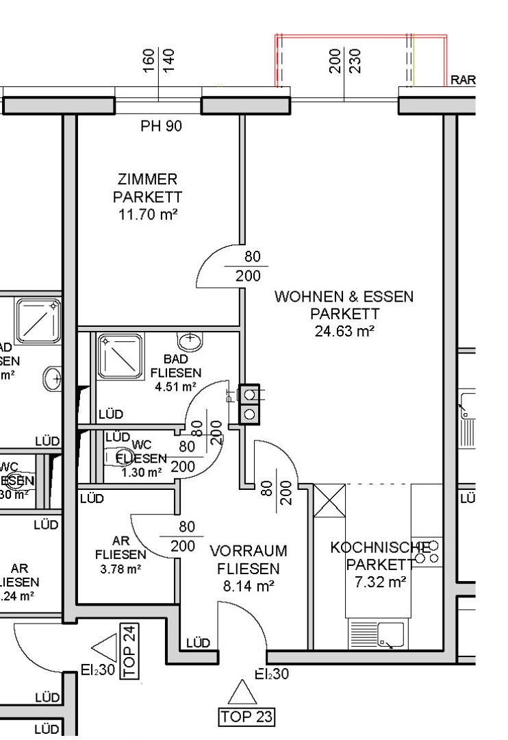 Grundrissplan (2. Stock mit Aufzug)