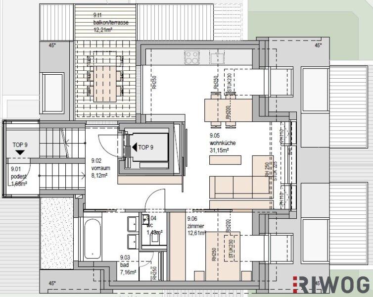 PIED A TERRE - wertstabil - hochwertig - glamourös - Top 9 im Dachgeschoss mit Aussicht /  / 1190Wien / Bild 3