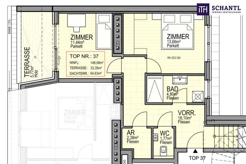 IHR TRAUM im Dachgeschoss! Erstbezug mit vier Zimmer auf zwei Etagen, plus über 64m² Panorama-Dachterrasse! /  / 1170Wien / Bild 1