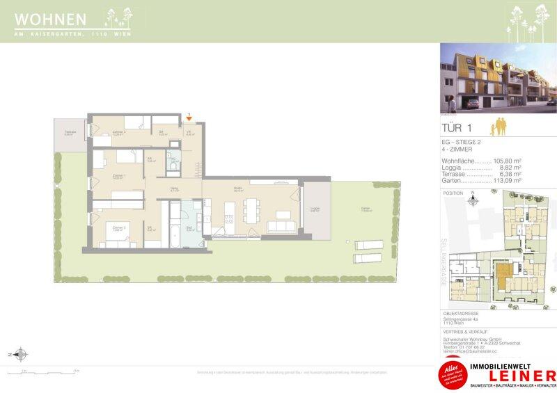 Erstbezug, provisionsfreie 4- Zimmer Wohnung mit 113m² Garten/Gartenwohnung Objekt_12110 Bild_876
