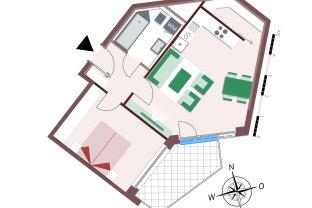 80222 – Gemütliche 2-Zimmer-Wohnung mit viel Stauraum und schöner Loggia