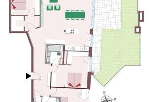 8111 – 130 m² Wohnung auf einer Ebene mit wunderschönem Dachgarten