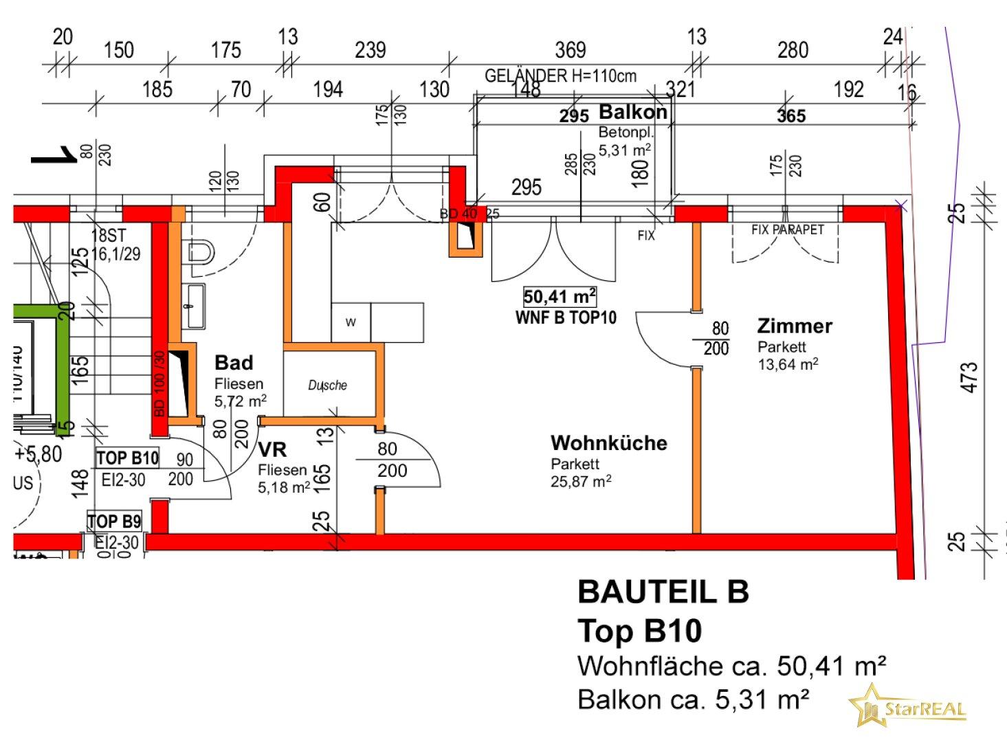 BAUTEIL B/TOP 10 - Grundriss