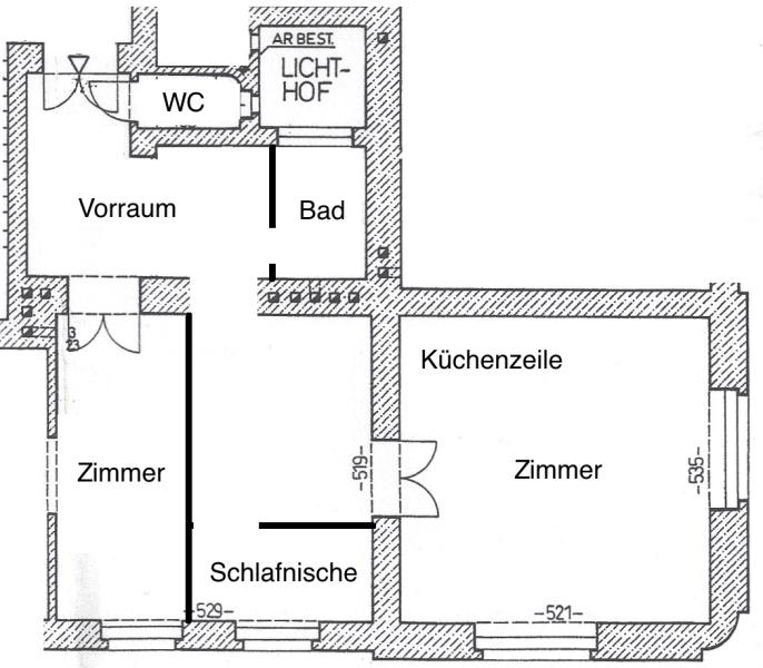 Sonnige, bildhübsche 2 1/2 Zimmerwohnung mit Altbaucharme, Blick auf Yppenplatz, großer Wohnraum mit Küche, Linie U6-Josefstädterstraße + Alserstraße! /  / 1160Wien / Bild 10