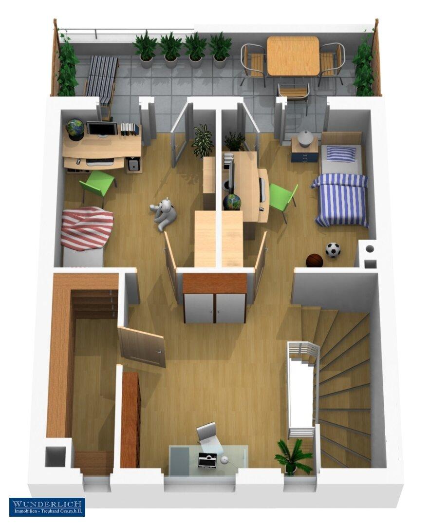3D-Visualisierung 1 - Dachgeschoß