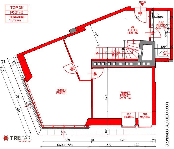 NEU! ++ Großzügige Dachgeschosswohnung ca. 155 m² + Terrasse, nähe ?Siebenbrunnenplatz?, 1050 Wien (Top 35) ++