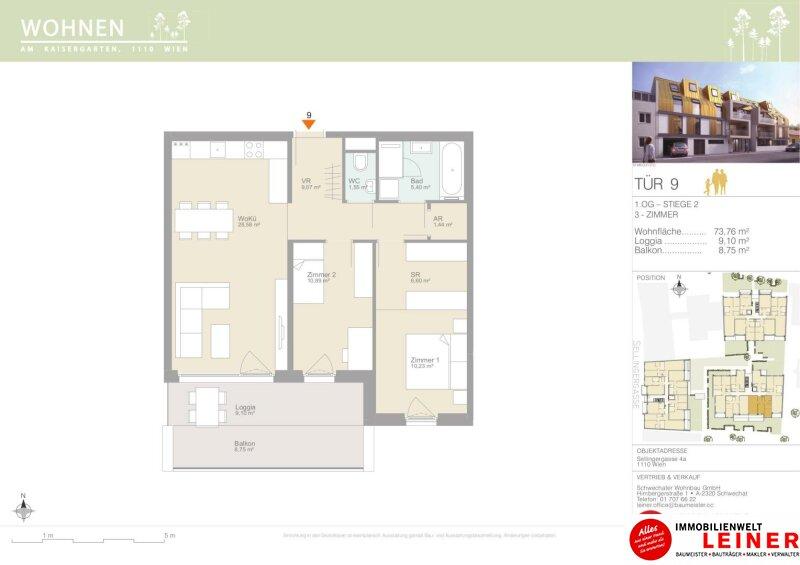 Erstbezug, provisionsfreie 3- Zimmer Wohnung mit Balkon & Loggia - Pärchenhit! Objekt_12111 Bild_887