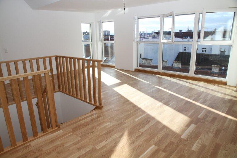 Nähe U6-BURGGASSE - 160m neben 7. Bezirk! 12,38 m² Dachterrasse / 53 m² Wohnküche, NUR ? 274 BK+Rücklage, Energieklasse A / Ost/West
