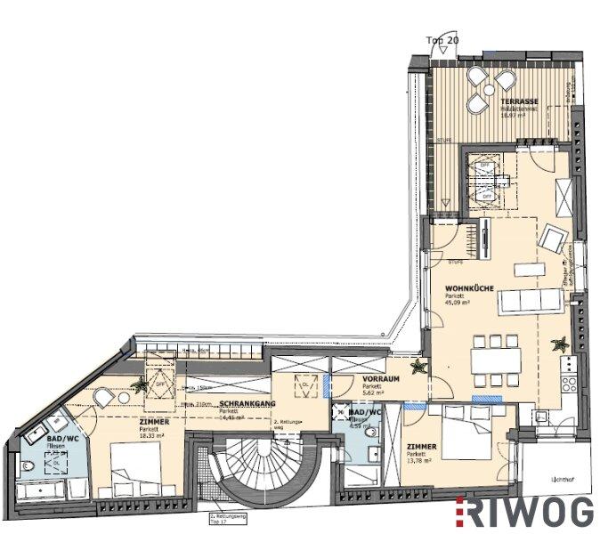 ++ LUXUS-DACHGESCHOSSWOHNUNGEN ++ Exklusive 3-Zimmer DG-Wohnung auf 109 m² und westseitiger Terrasse (19 m²) /  / 1020Wien / Bild 3