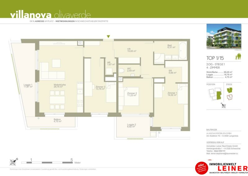 *UNBEFRISTET+BARRIEREFREI* Schwechat - 4 Zimmer Mietwohnung mit großer Terrasse und Loggia Objekt_8831 Bild_184