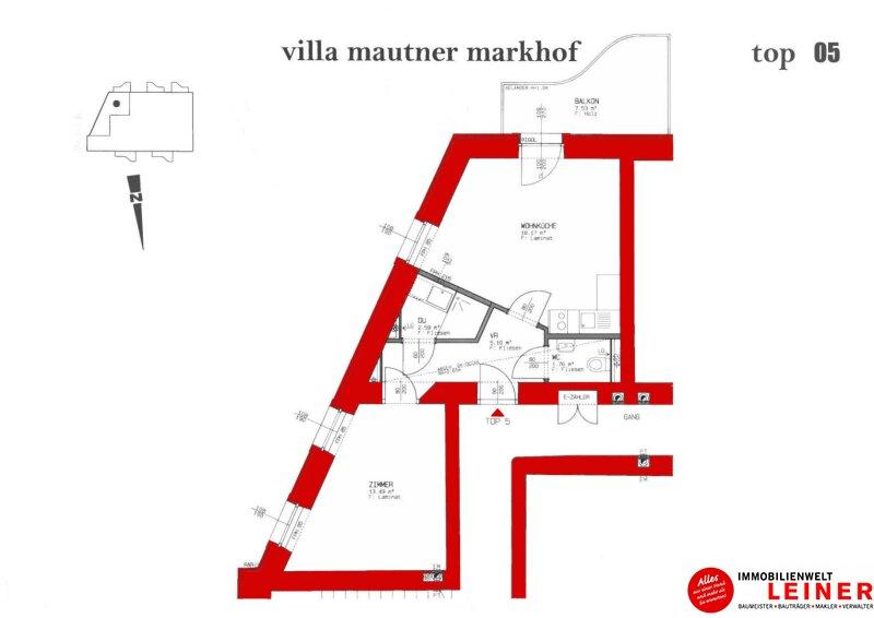 2 Zimmer Mietwohnung mit Balkon -  die besondere Art zu Wohnen in der geschichtsträchtigen Villa Mautner Markhof in Schwechat! Objekt_10016 Bild_620