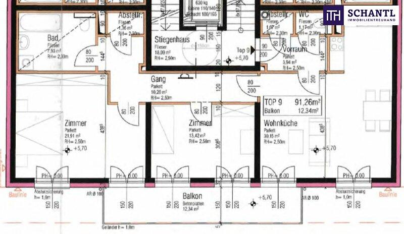 Perfekt aufgeteilte 3-Zimmer Wohnung mit großem Balkon! TOP Neubau - Erstbezug nahe am Wasser! Jetzt zugereifen! /  / 1210Wien / Bild 3