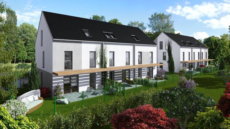 Neues modernes Eckreihenhaus mit großem Garten, Ruhelage mit schönem Blick zum Nationalpark Donau Auen