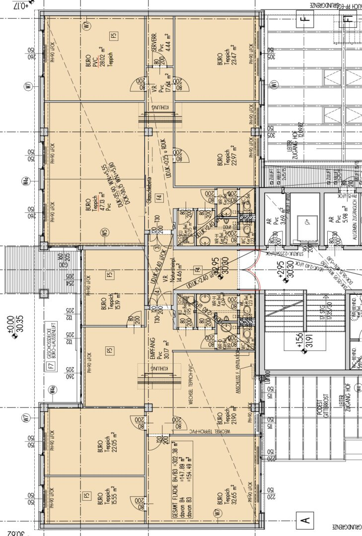 Plan Büro 1. Stock, ca. 316,84 m2