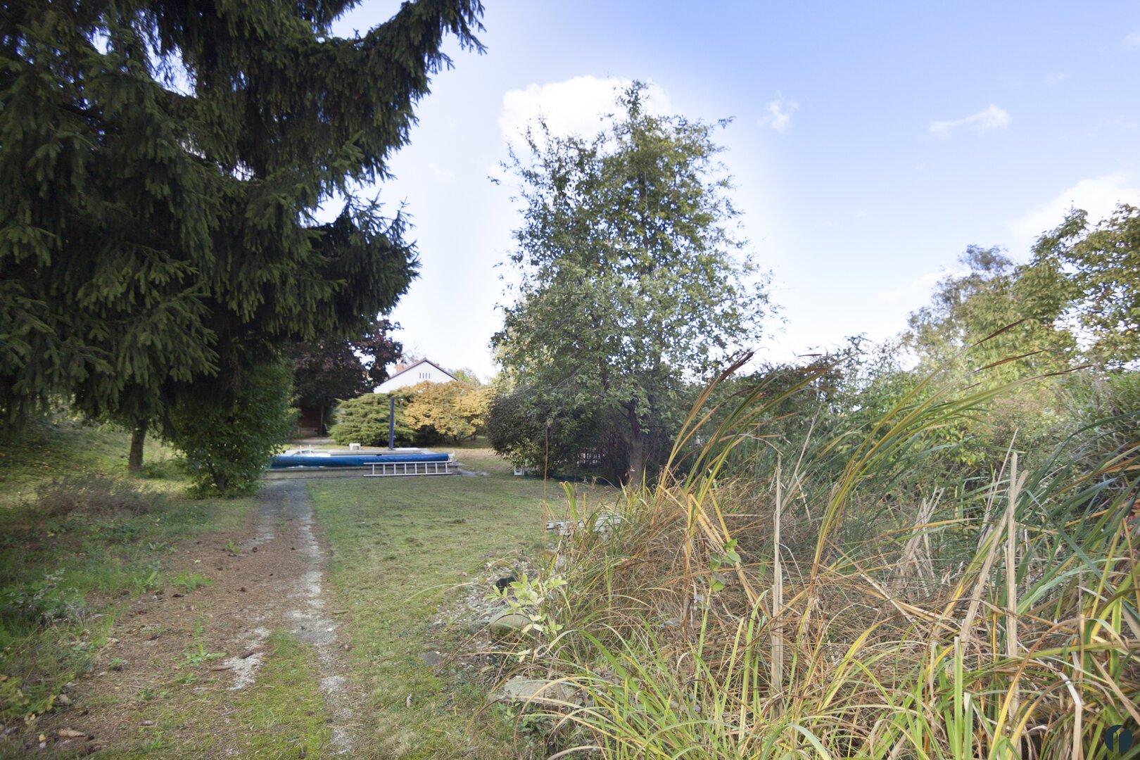Blick vom Teich zum Pool