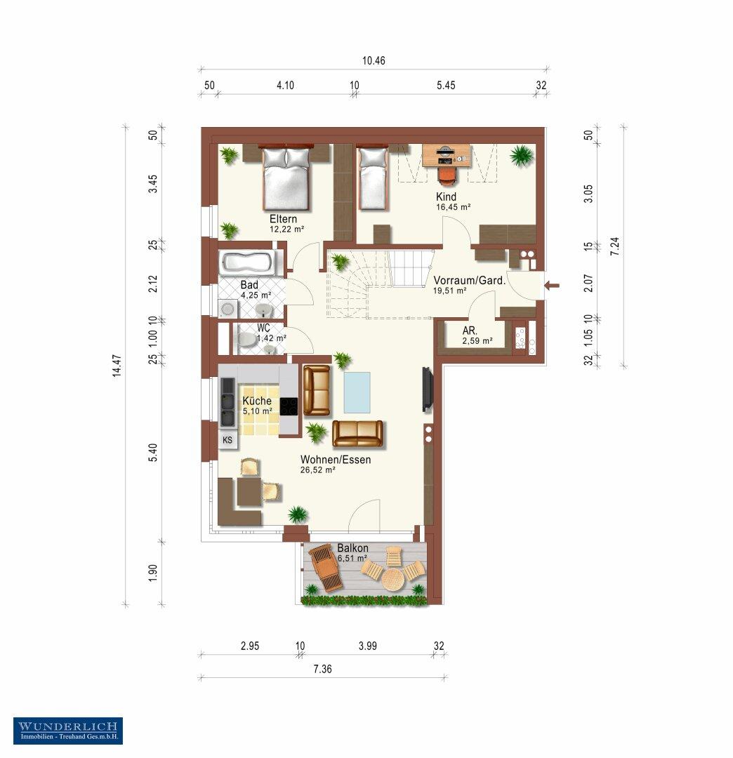 Wohnungsplan - 1. Ebene