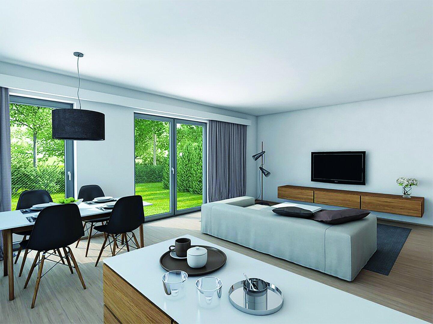 Wohnraum mit großen Glasflächen