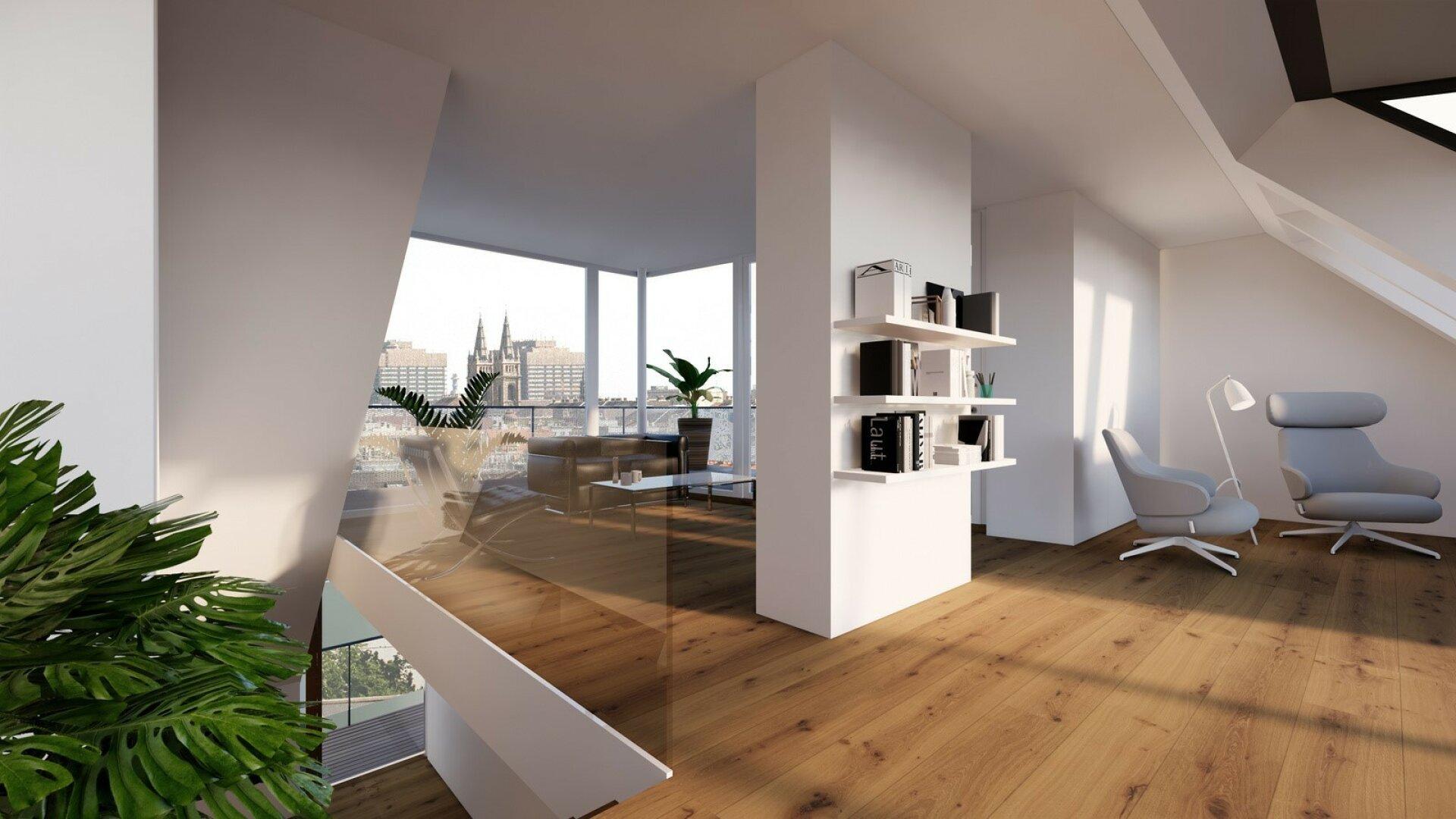 Ein unvergleichbarer Ausblick | Dachgeschoß-Wohnungen mit herausragendem Blick über die Wiener Innenstadt (Projektansicht)
