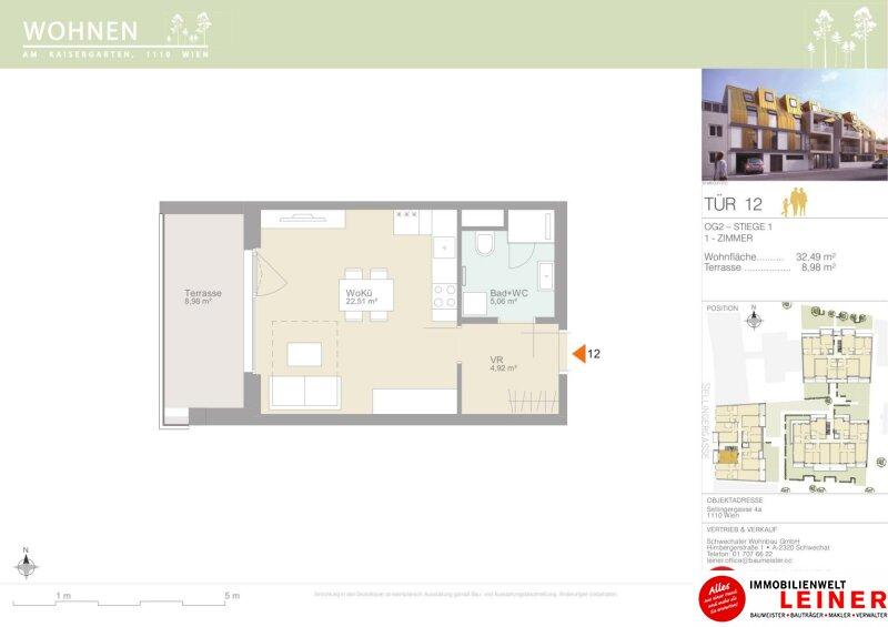 Erstbezug 1-Zimmer Eigentumswohnung mit 8,98m² sonniger Terrasse, 1110 Wien Objekt_12075 Bild_552