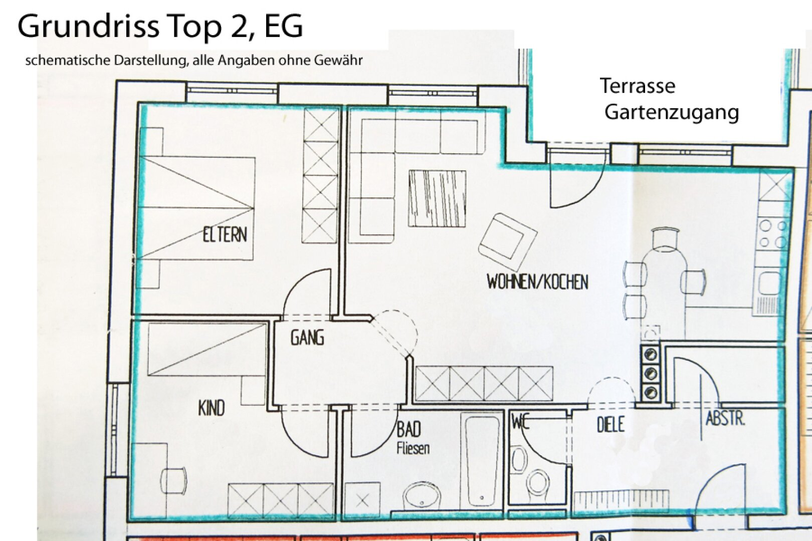 Grundriss Top 2, 3-Zimmer Mietwohnung Kufstein