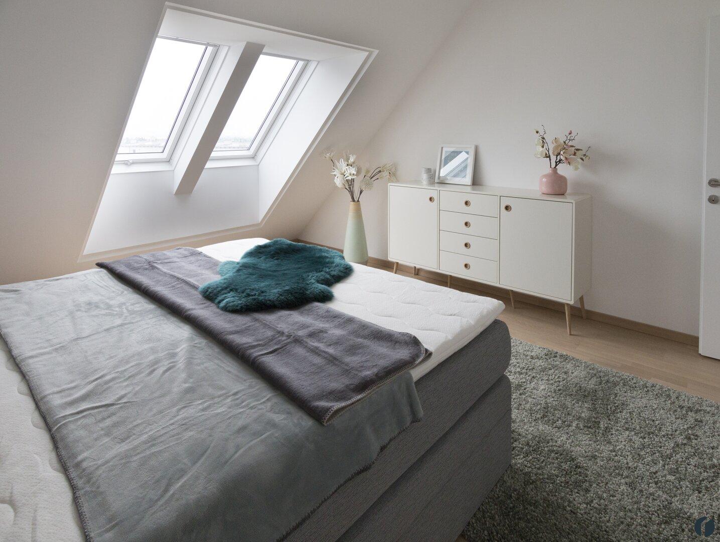 Schlafzimmer Musterwohnung teilmöbliert