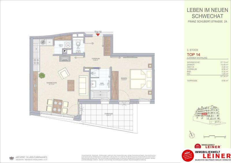 Schwechat - 57 m² Mietwohnung mit Terrasse im Zentrum - Erstbezug Objekt_9320 Bild_686