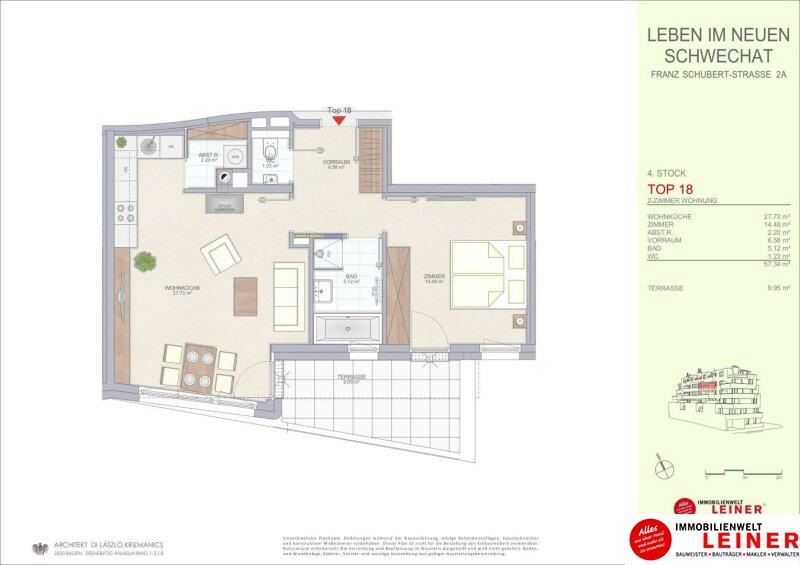 Schwechat - 57 m² Mietwohnung mit Terrasse im Zentrum - Erstbezug Objekt_9290 Bild_493