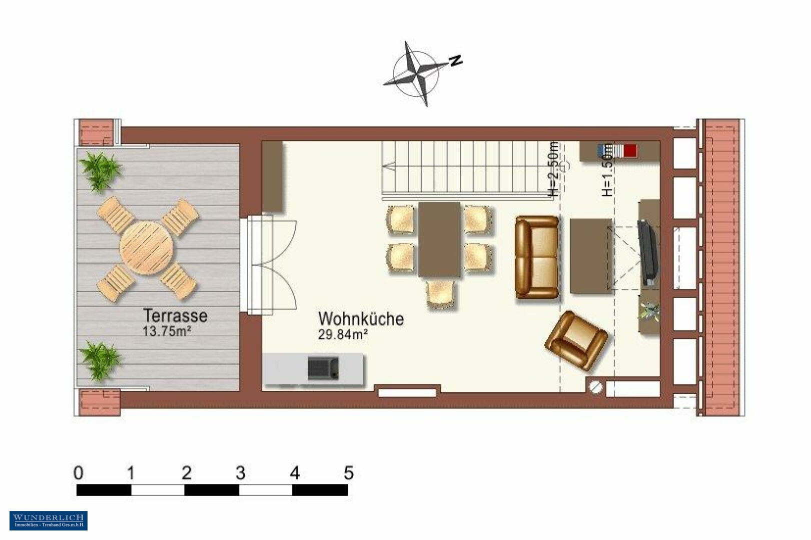 Plan Wohnebene 5. Stock