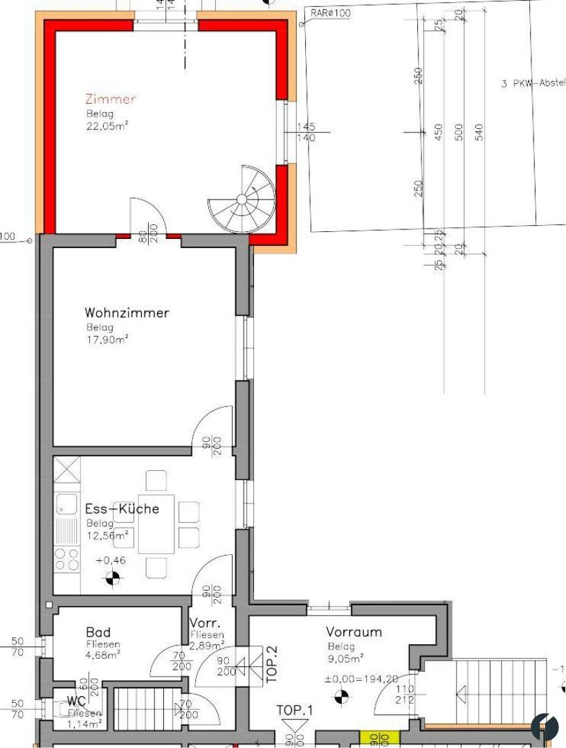 Wohnungsplan obere Ebene
