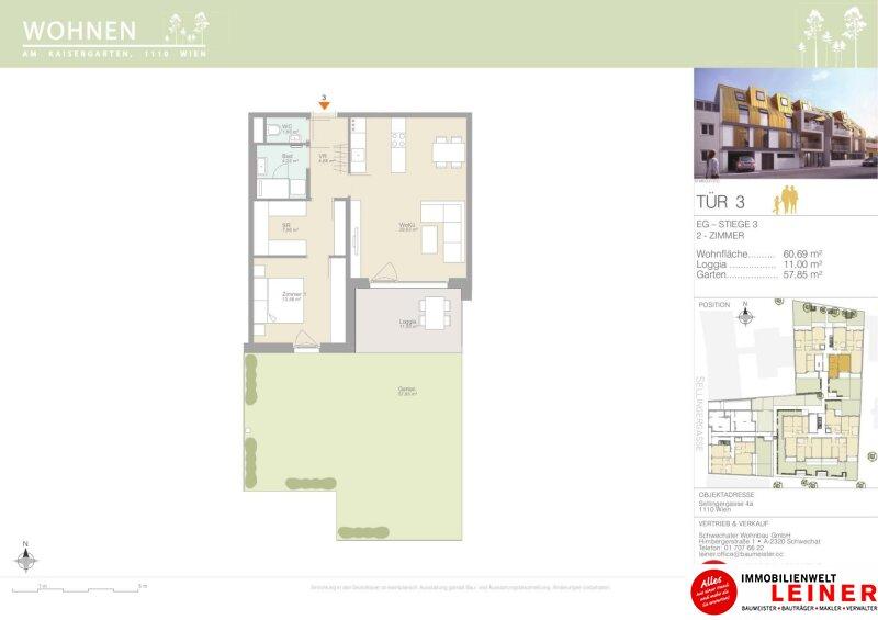 Zentral, provisionsfrei, barrierefrei - 2 Zimmer Eigentumswohnung mit 57,85m² Eigengarten, 1110 Objekt_12082 Bild_612