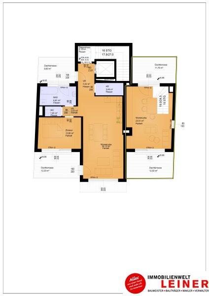 Traumhafte Maisonette Wohnung + Eigengarten + 3 herrliche Dachterrassen Oberlaa, Wohnerlebnis der Extraklasse – Schlüsselfertig – Provisionsfrei! Objekt_8784 Bild_493