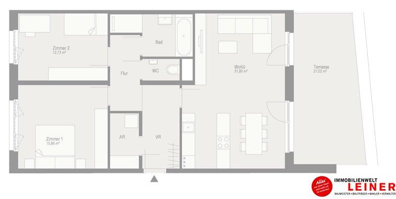 Terrassenwohnung mit 3 Zimmern in Schwechat  - unbefristeter Mietvertrag! Objekt_9767 Bild_254