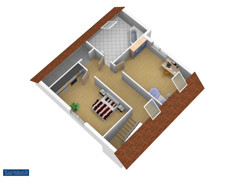 3D-Ansicht 1 Änderungsvorschlag Dachgeschoß