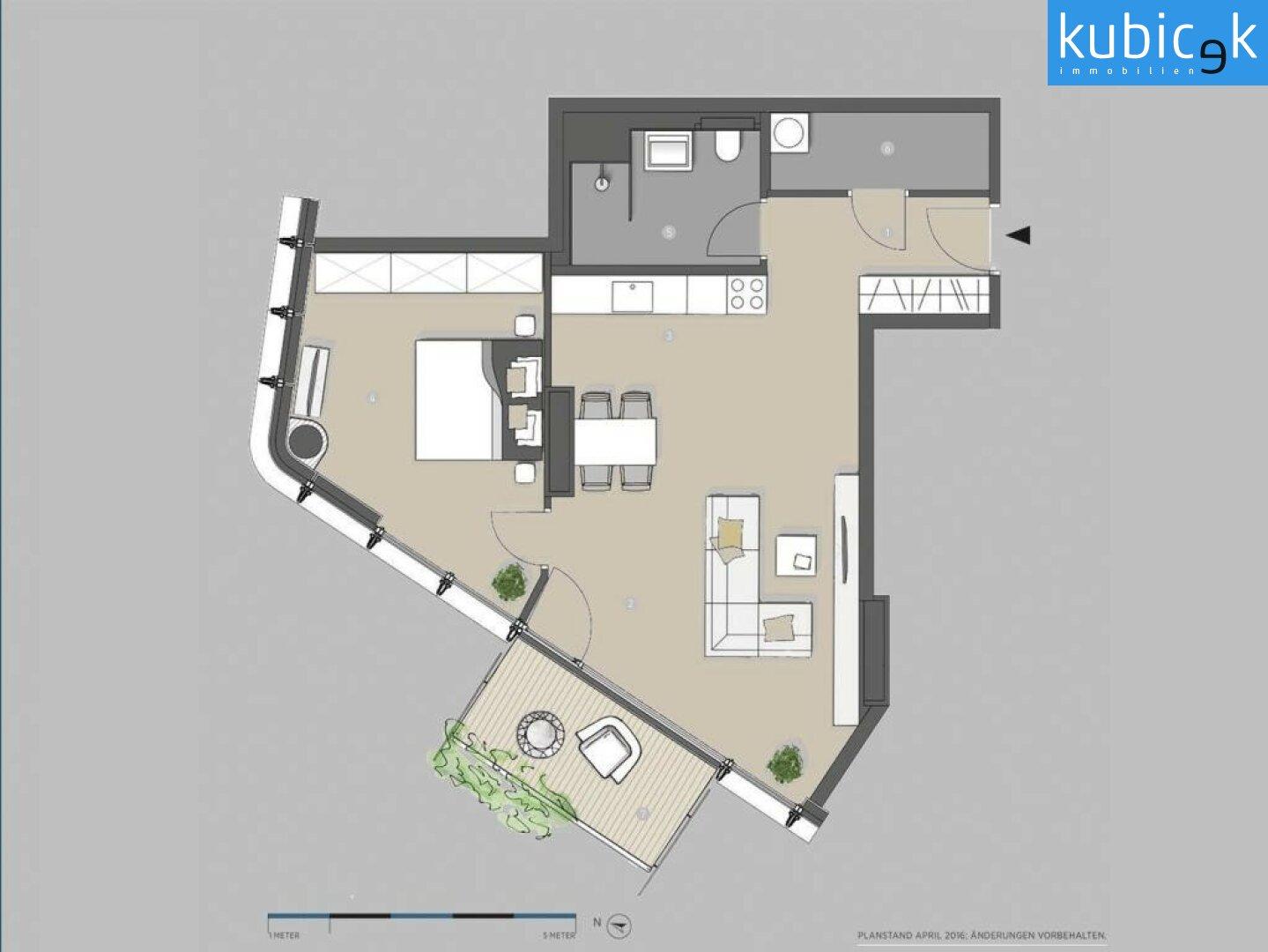 Grundrissplan 2-Zimmer-Wohnung