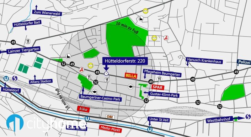 perfekt aufgeteilte 37m² - 16 m² Hofterrasse - Wohnküche - Schlafzimmer - THE RESIDENCE /  / 1140Wien / Bild 6