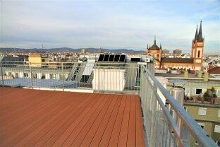 PENTHOUSE in 1070 Wien / 160 m² Wohnfläche und 4 Terrassen mit insgesamt 101 m² und 360°-Panorama-Blick über Wien
