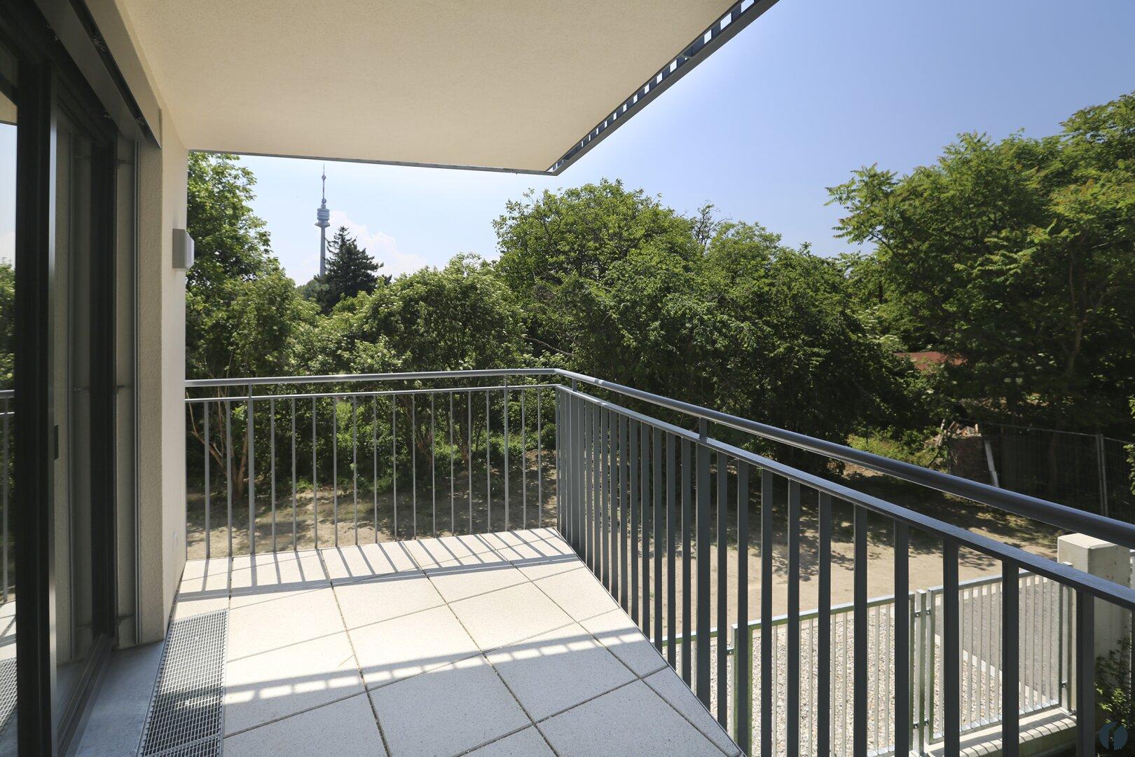 Balkon mit Blick auf den Donauturm