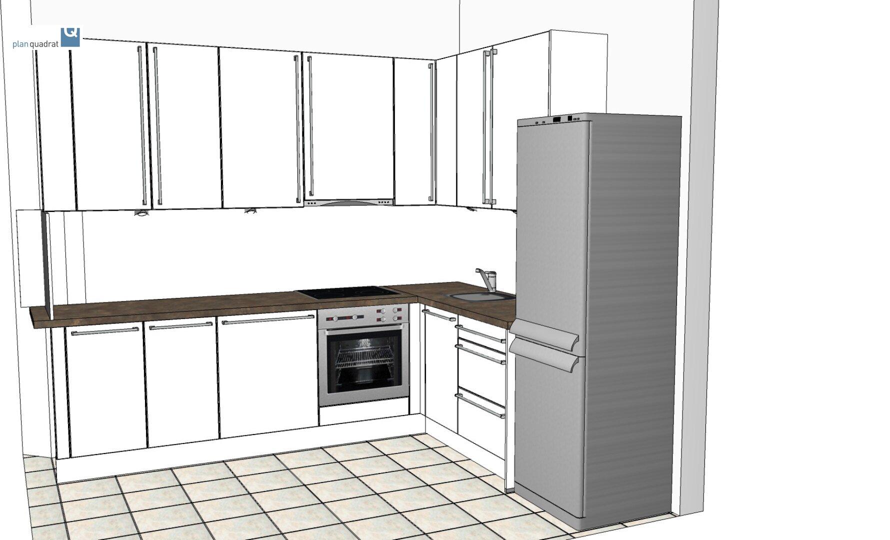 Rendering der hinkünftigen Küchenzeile (Kühlschrank ist nicht Teil der mitvermieteten Einrichtung)
