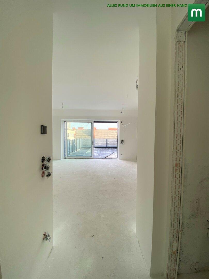 Korridor / Blick ins Wohnzimmer