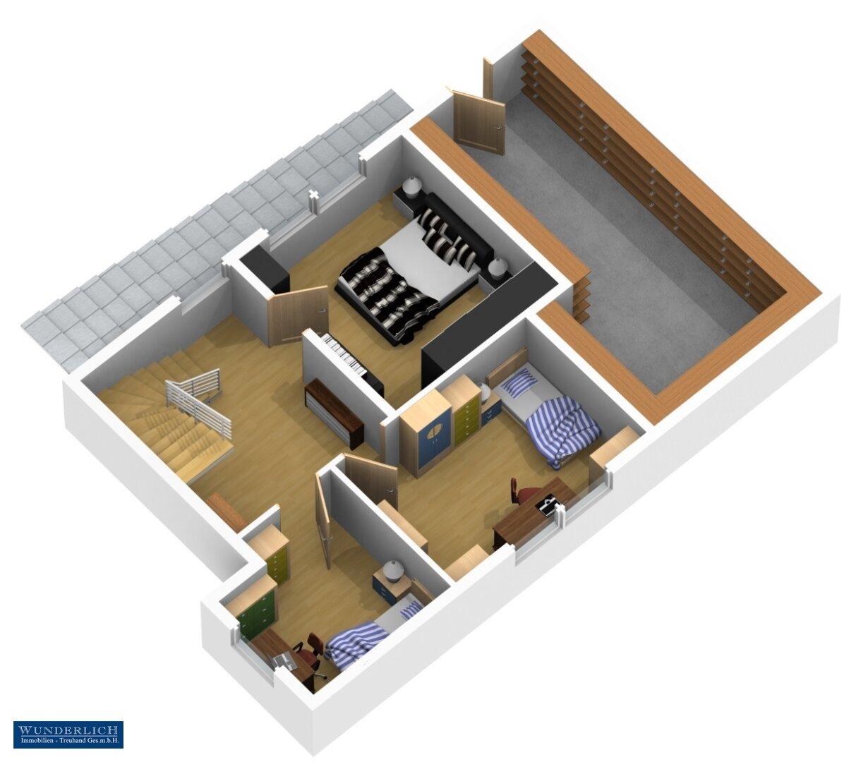 3D-Visualisierung 1 - Untergeschoß