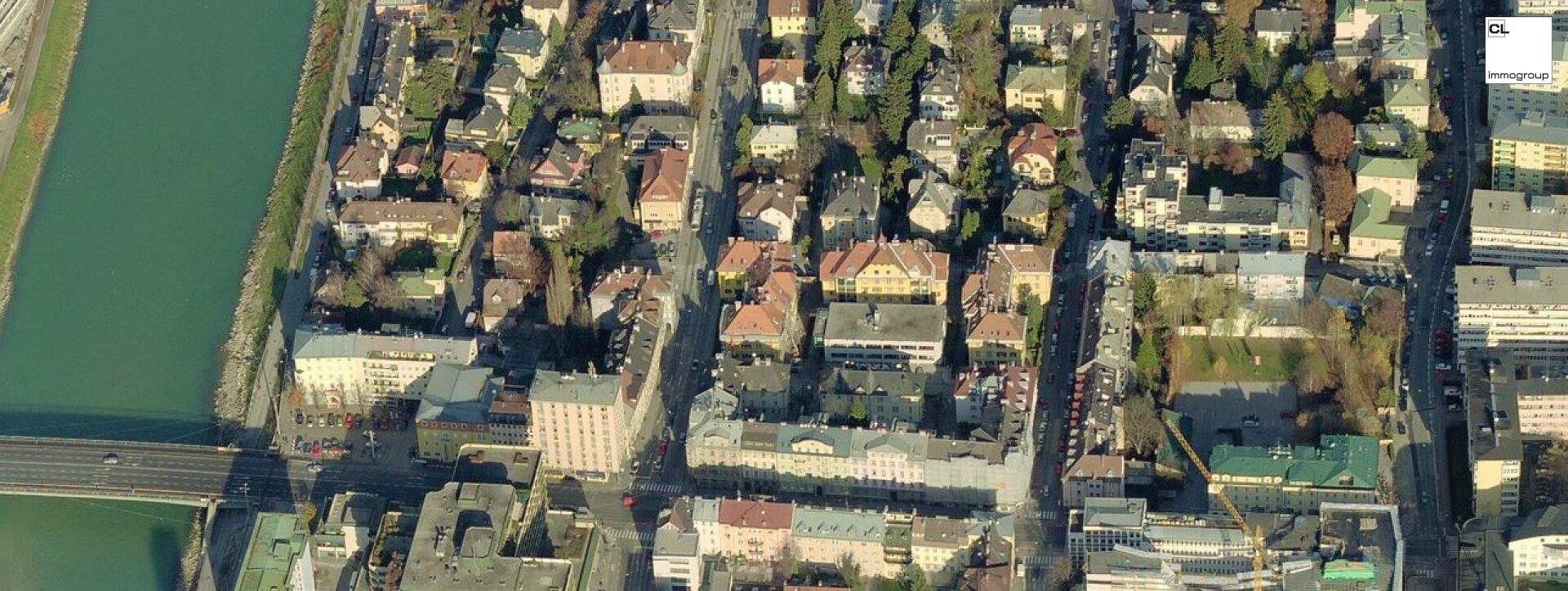 Luftbildaufnahme zu Charismatische Altbauwohnung in schönem Gründerzeithaus, nahe Salzach (c) CL-Immogroup, www.cl-immogroup.at