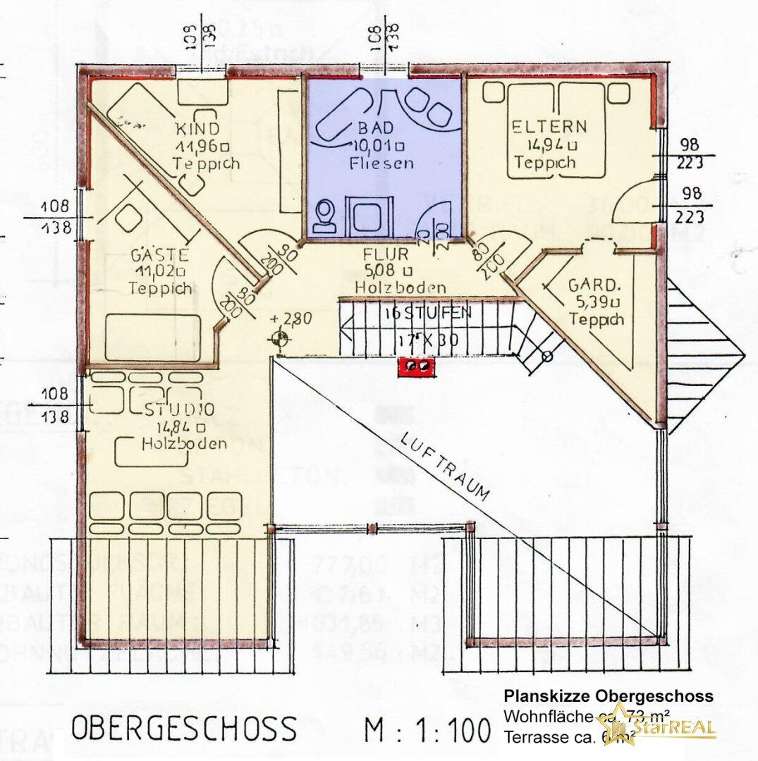 Planskizze Obergeschoss