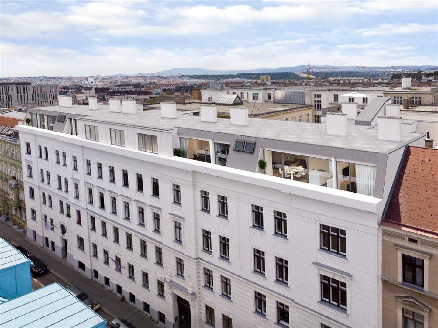 Ansicht straßenseitig Dachterrassenwohnungen