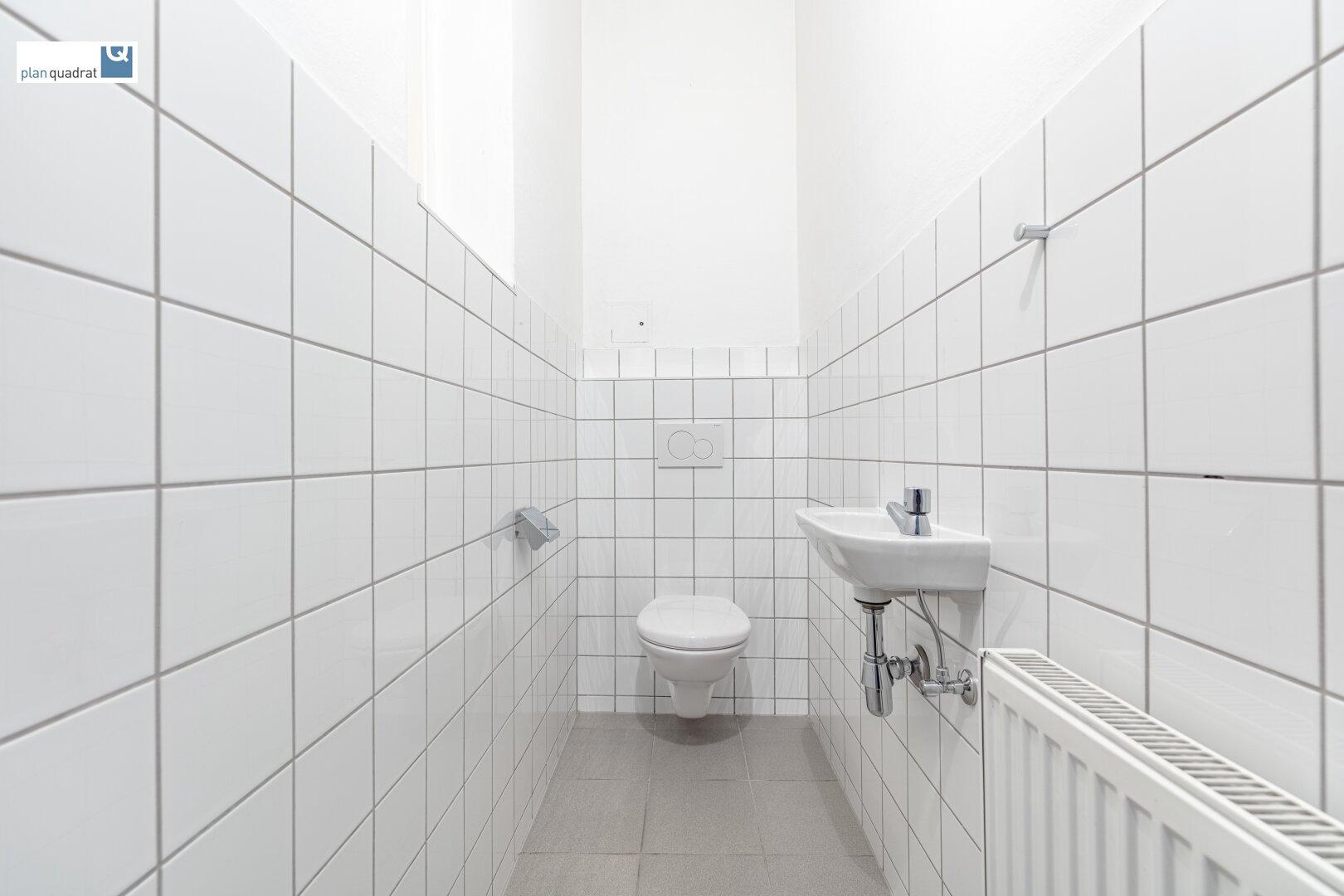 Toilette (mit Handwaschbecken und Fenster)