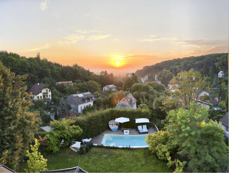 Blick über den Garten nach Korneuburg