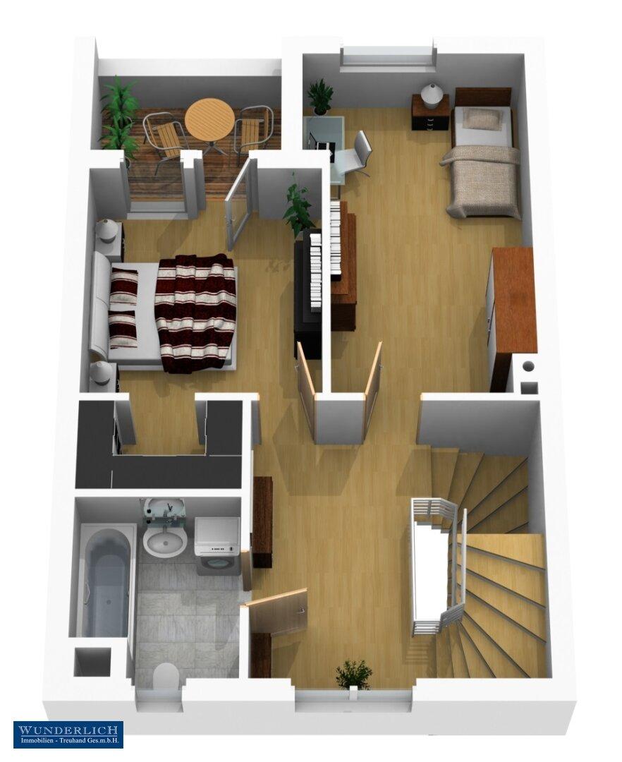 3D-Visualisierung 1 - Obergeschoß