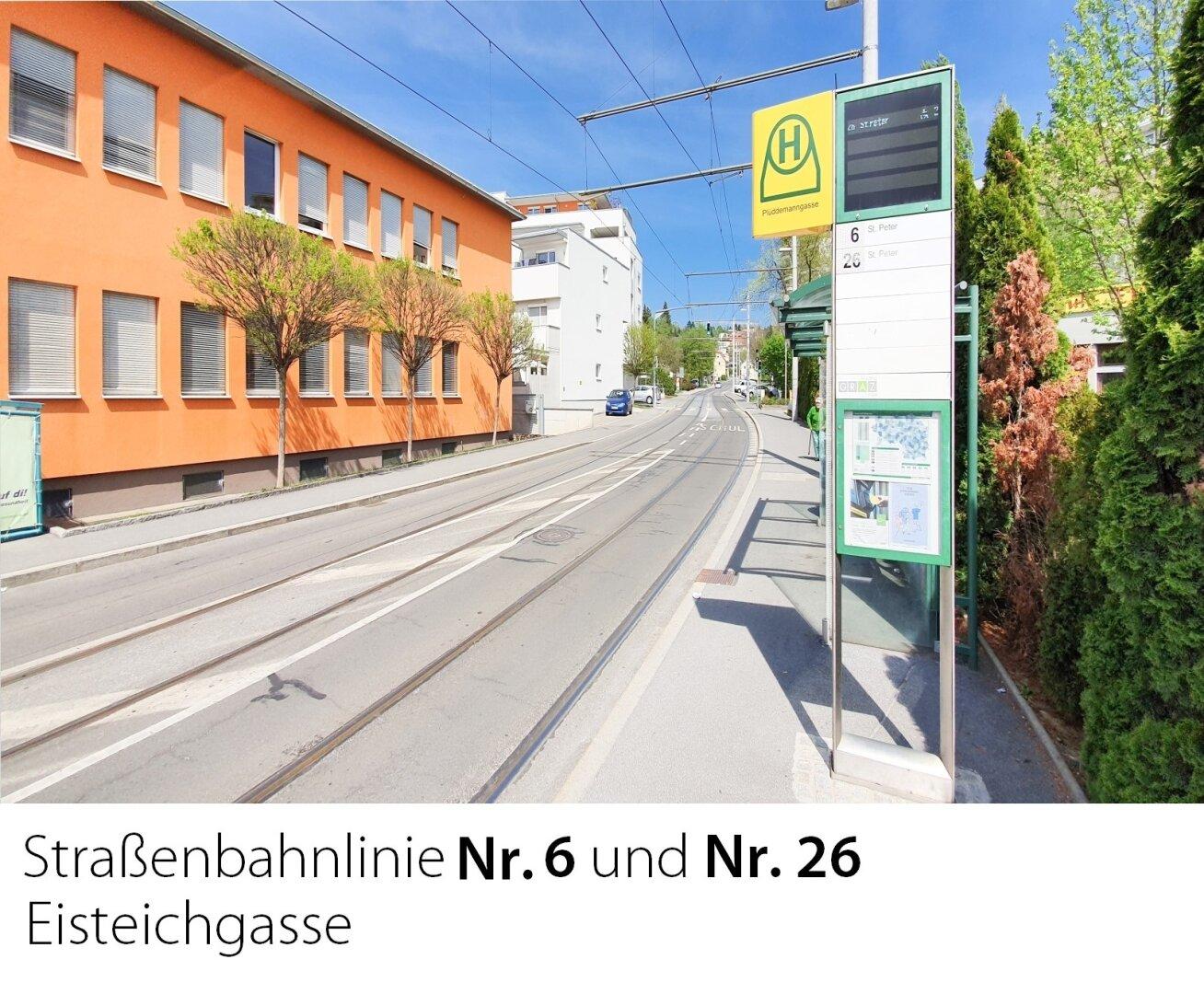 Straßenbahnlinie 6 und 26 Eisteichgasse